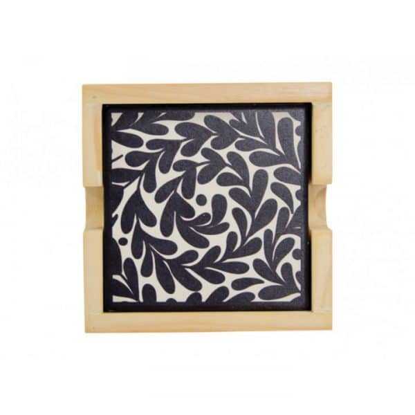 Coaster Set - Ceramic - Leaves Black & White - Annabel Trends