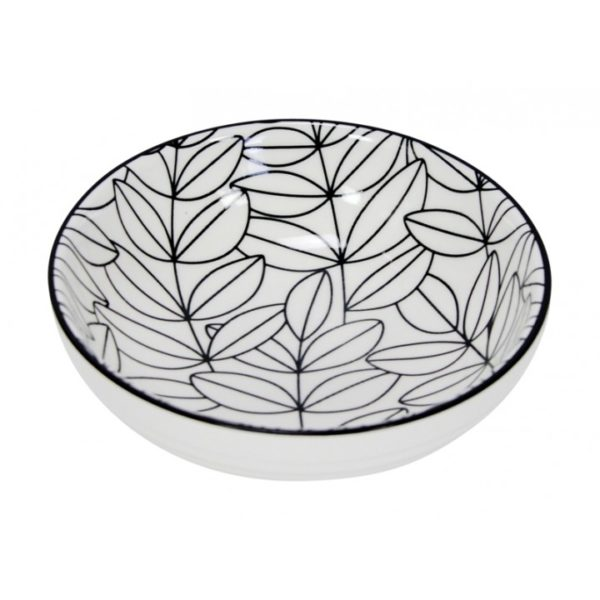 Tapas - Bowl - Black & White - Leaf 3 1