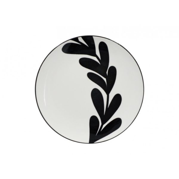 Tapas - Plate - Black & White - Leaf 1 - Annabel Trends