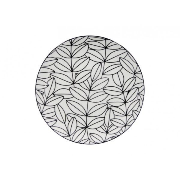 Tapas - Plate - Black & White - Leaf 3 - Annabel Trends