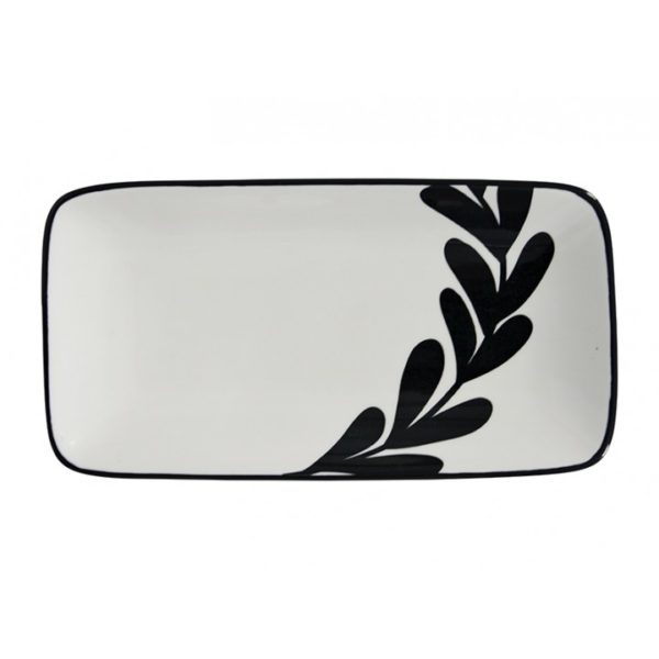 Tapas - Tray - Black & White - Leaf 1 - Annabel Trends