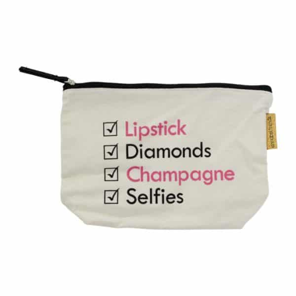 Canvas Cosmetic Bag - Lipstick Diamonds - Annabel Trends