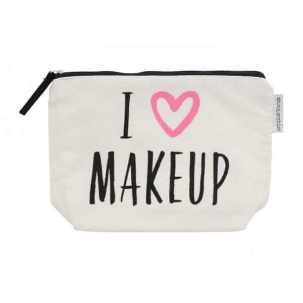 Canvas Cosmetic Bag - I Love Makeup - Annabel Trends