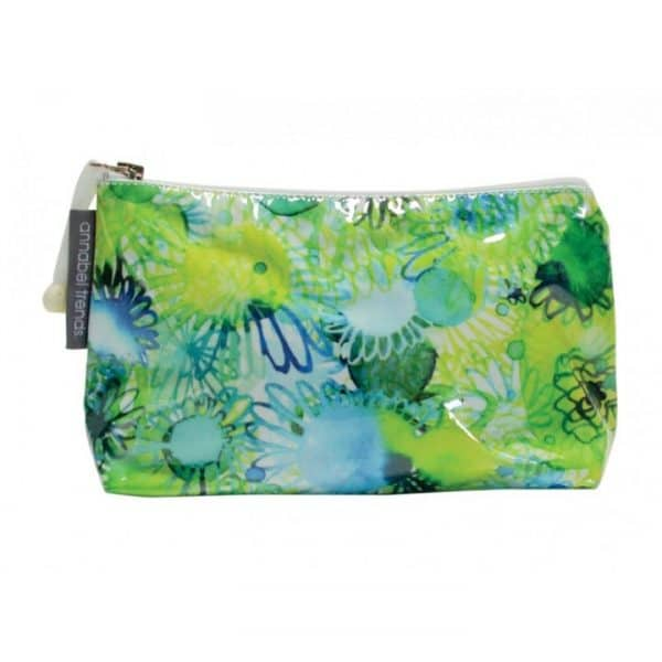 Cosmetic Bag - Small - Green Blue Floral - Annabel Trends