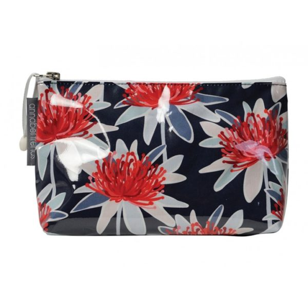 Cosmetic Bag Small - Tree Waratah Navy - Annabel Trends