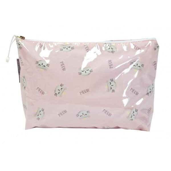 Cosmetic Bag - Large - Cats Meow Pink - Annabel Trends