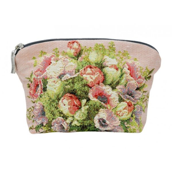 Annabella French Tapestry Cosmetic Bag - Bouquets Pink - Annabel Trends