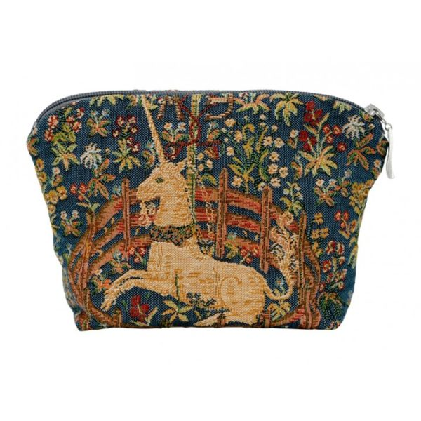 Annabella French Tapestry Cosmetic Bag - Unicorn Blue - Annabel Trends