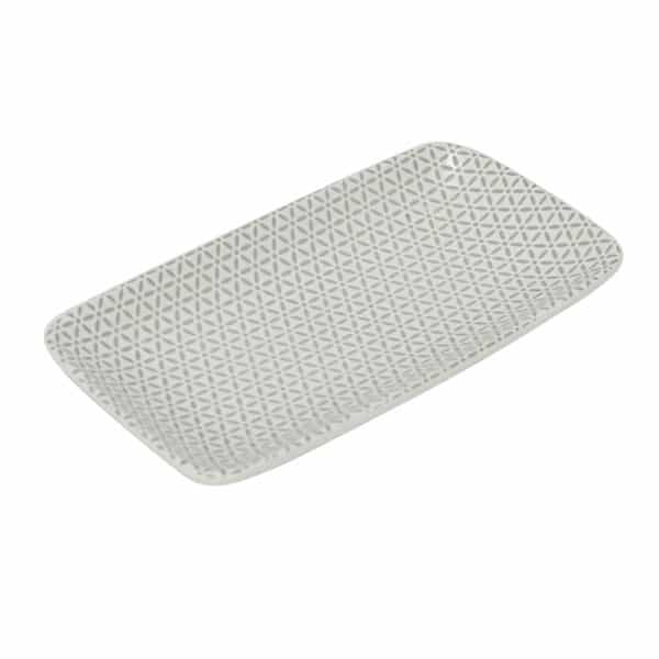 Ceramic Tray - Flower Grey 1