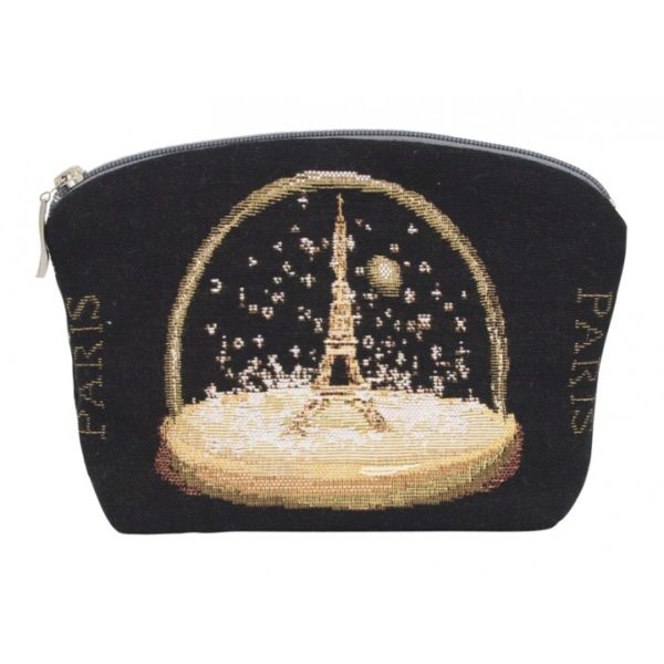 Annabella French Tapestry Cosmetic Bag - Paris Snow Dome Black - Annabel Trends