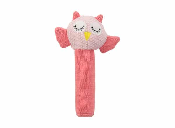 Hand Rattle - Owl - Pink - Annabel Trends