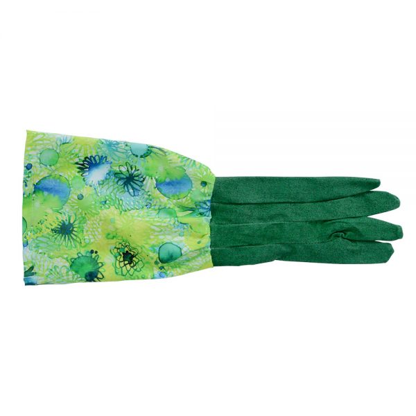 Long Sleeve Garden Gloves - Green Blue Floral - Annabel Trends