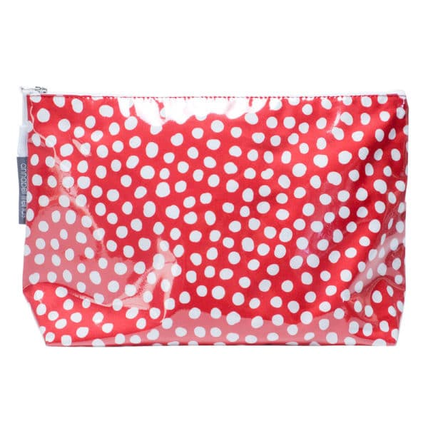Cosmetic Bag - Large - Spot Red - Annabel Trends