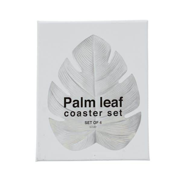 Coaster - Palm Leaf set of 4 - Metallic Silver 1