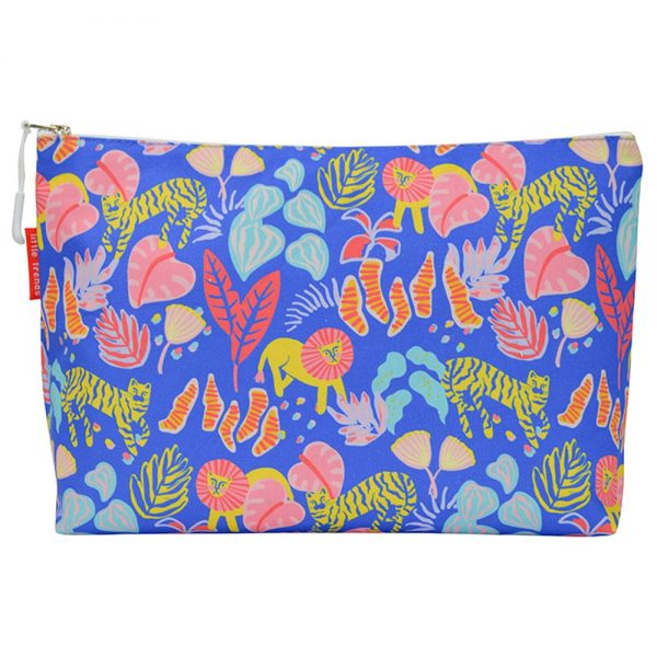 Cosmetic Bag - Large - Big Cat Blue - Annabel Trends