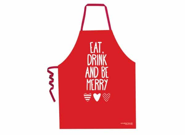 Christmas Screen Print Aprons - Eat, Drink, Merry - Annabel Trends