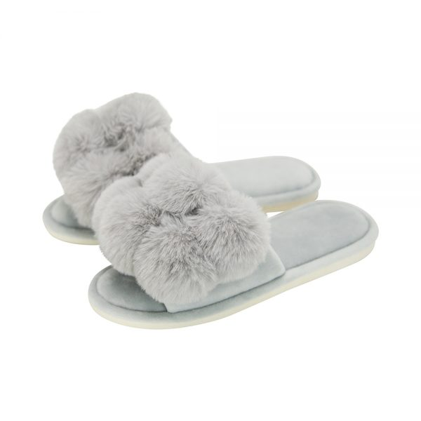 Cosy Luxe - Pom Pom Slippers - Grey - Annabel Trends