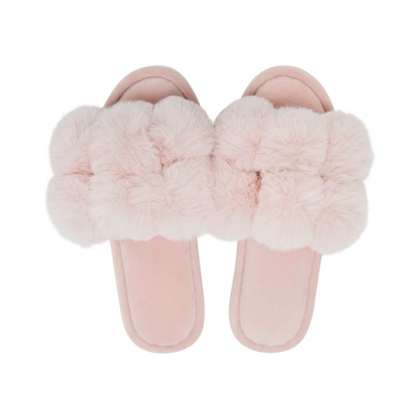 Cosy Luxe - Pom Pom Slippers - Pink - Annabel Trends