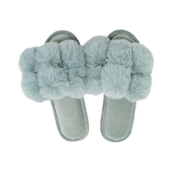 Cosy Luxe - Pom Pom Slippers - Sage - Annabel Trends