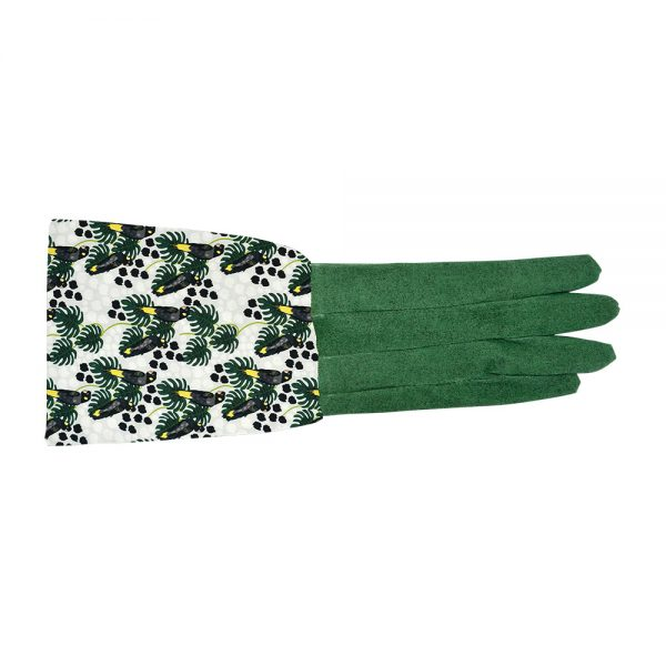 Long Sleeve Garden Gloves  - Black Cockatoo - Annabel Trends