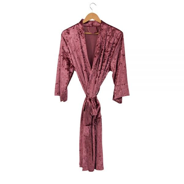 Bath Robe - Crushed Velvet Kimono - Rose - Annabel Trends